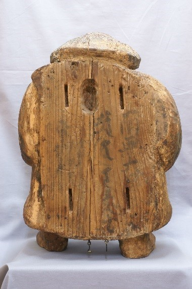 木造 大黒天立像(応永19年〈1412〉銘) 背面矧面銘文部分